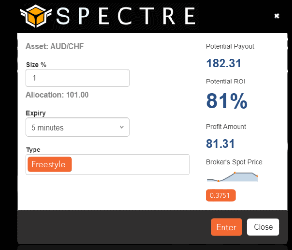 example of a Spectre trading slip